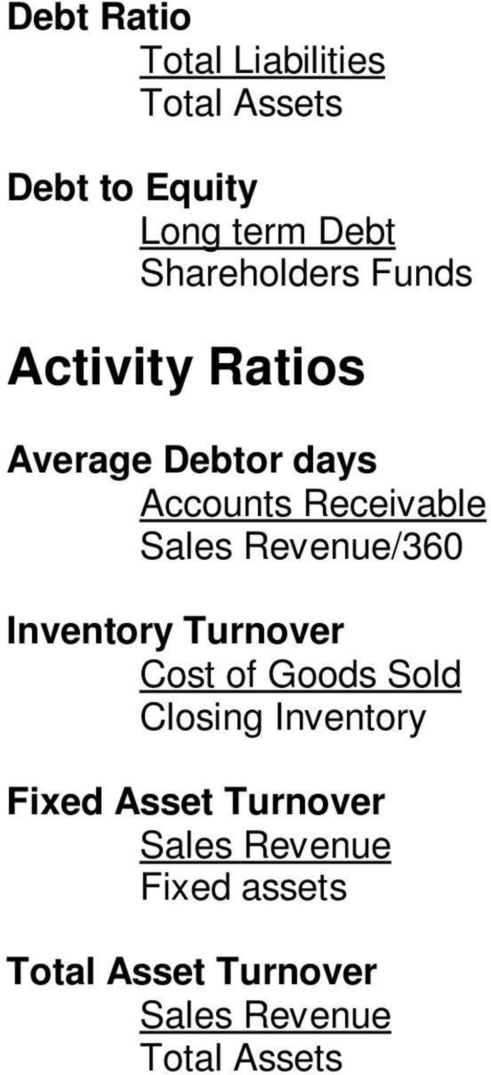 Receivable Revenue/360 Inventory Turnover Cost of Goods Sold