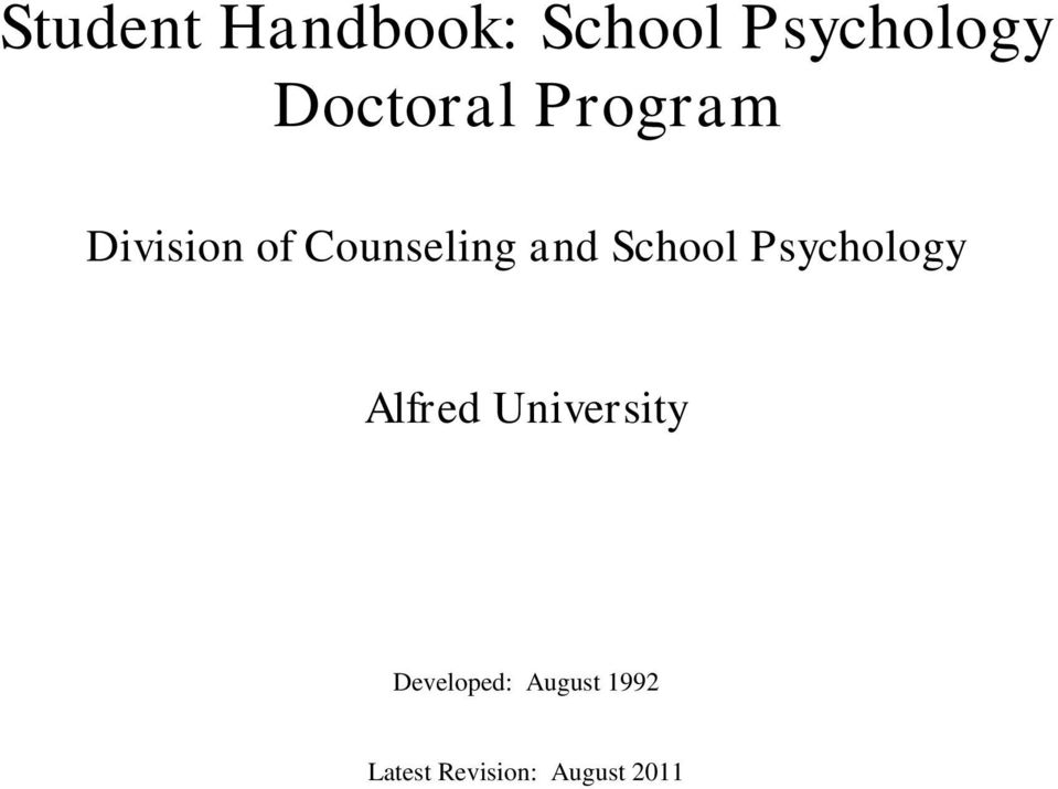 and School Psychology Alfred University