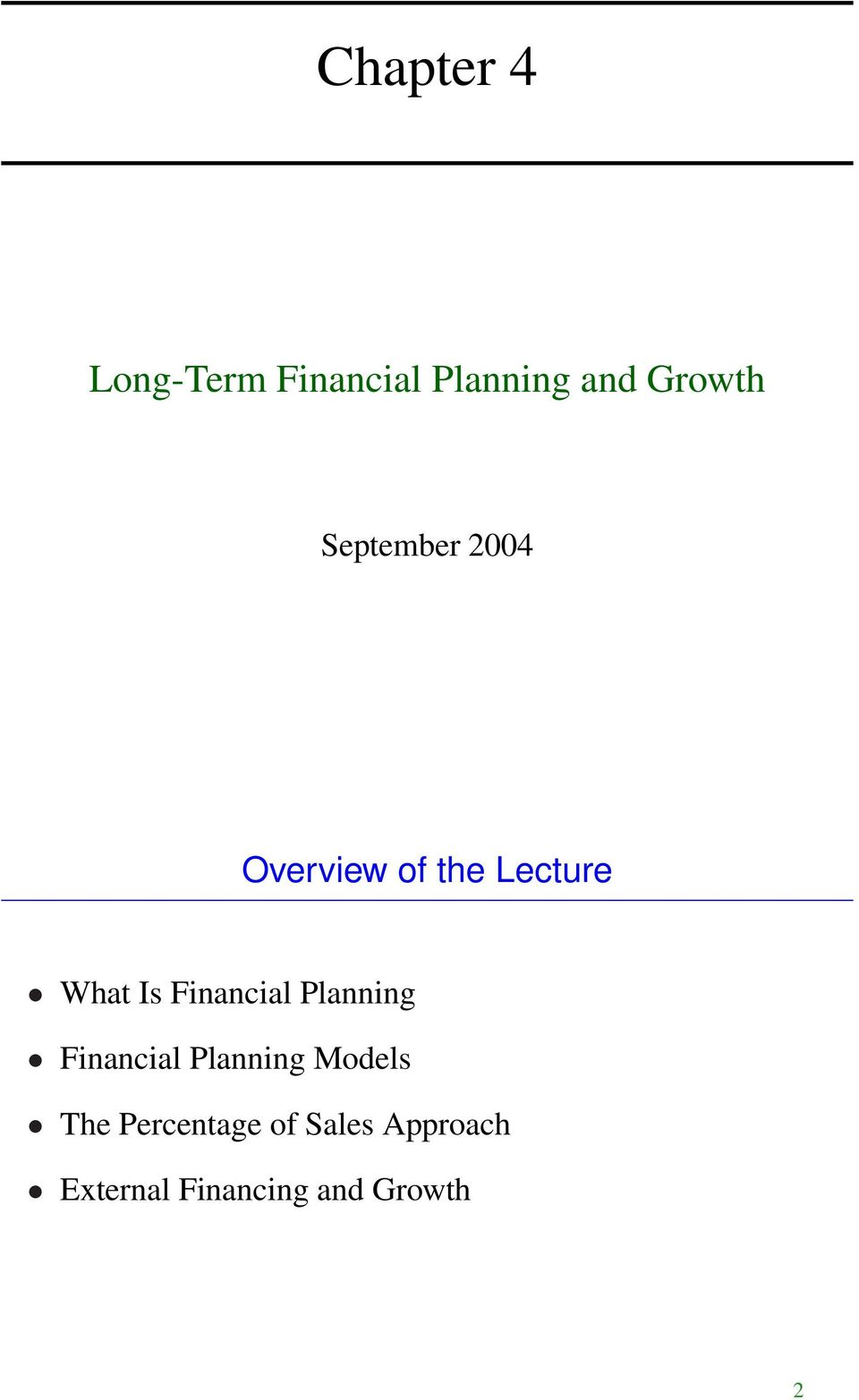 Financial Planning Financial Planning Models The