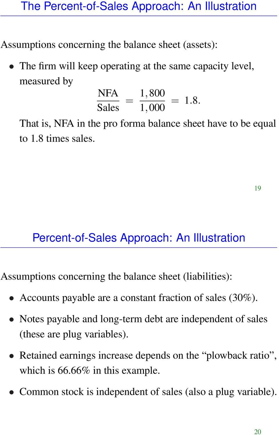 19 Percent-of-Sales Approach: An Illustration Assumptions concerning the balance sheet (liabilities): Accounts payable are a constant fraction of sales (30%).