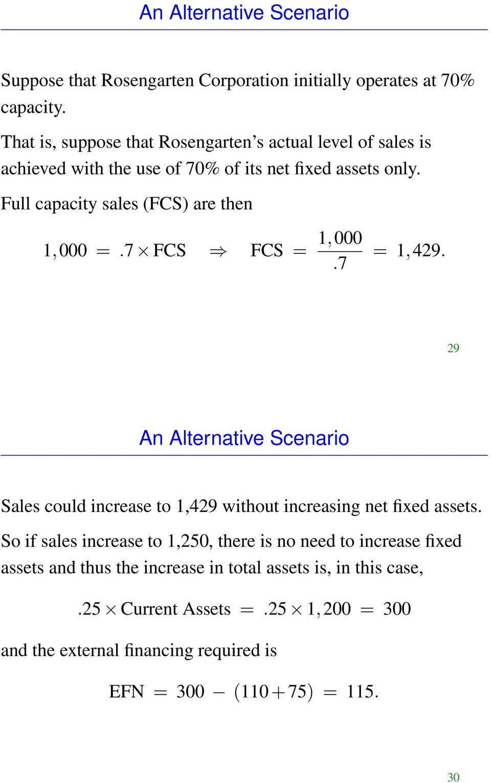 Full capacity sales (FCS) are then 1,000 =.7 FCS FCS = 1,000.7 = 1,429.