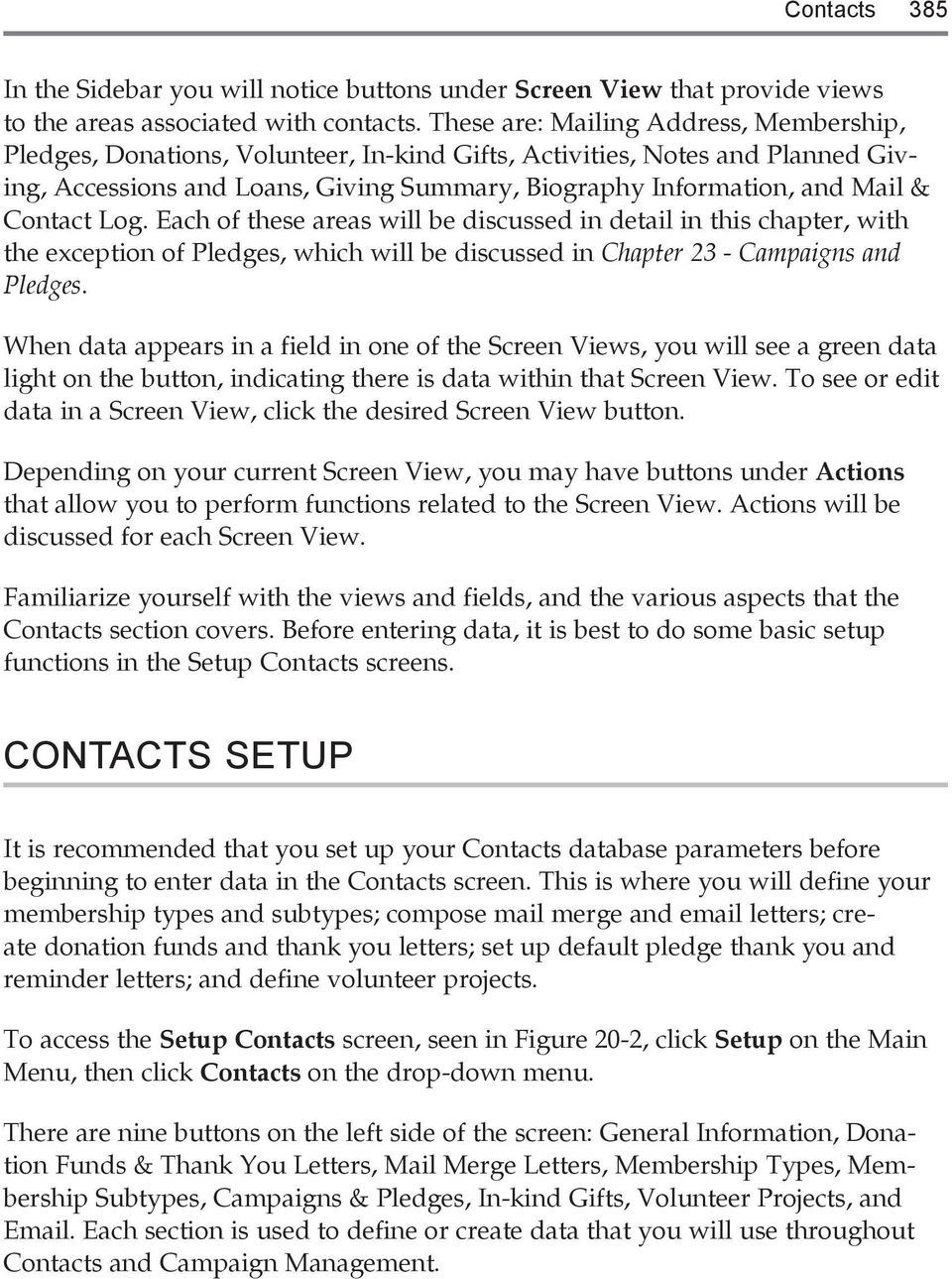 384 PastPerfect Museum Software User s Guide THE CONTACTS SCREEN - PDF