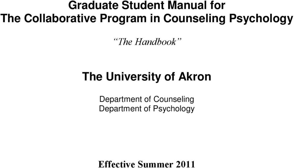The University of Akron Department of
