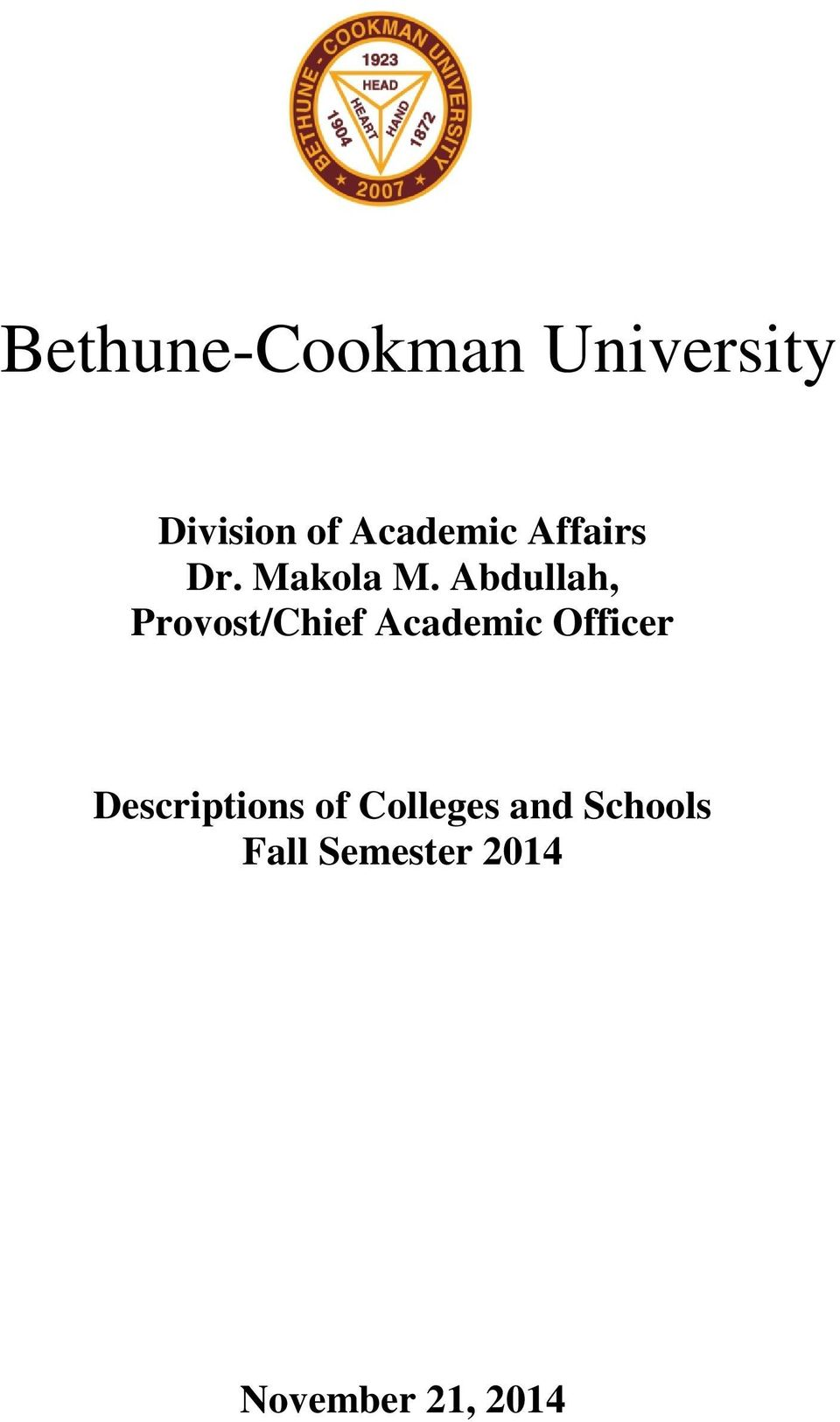 Abdullah, Provost/Chief Academic Officer
