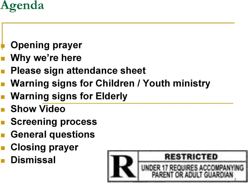 ministry Warning signs for Elderly Show Video