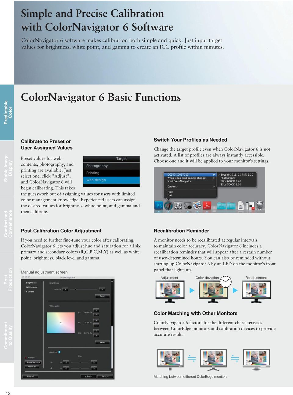 Predictable Color ColorNavigator 6 Basic Functions Stable Image Display Comfort and Convenience Post Production Calibrate to Preset or User-Assigned Values Preset values for web contents,