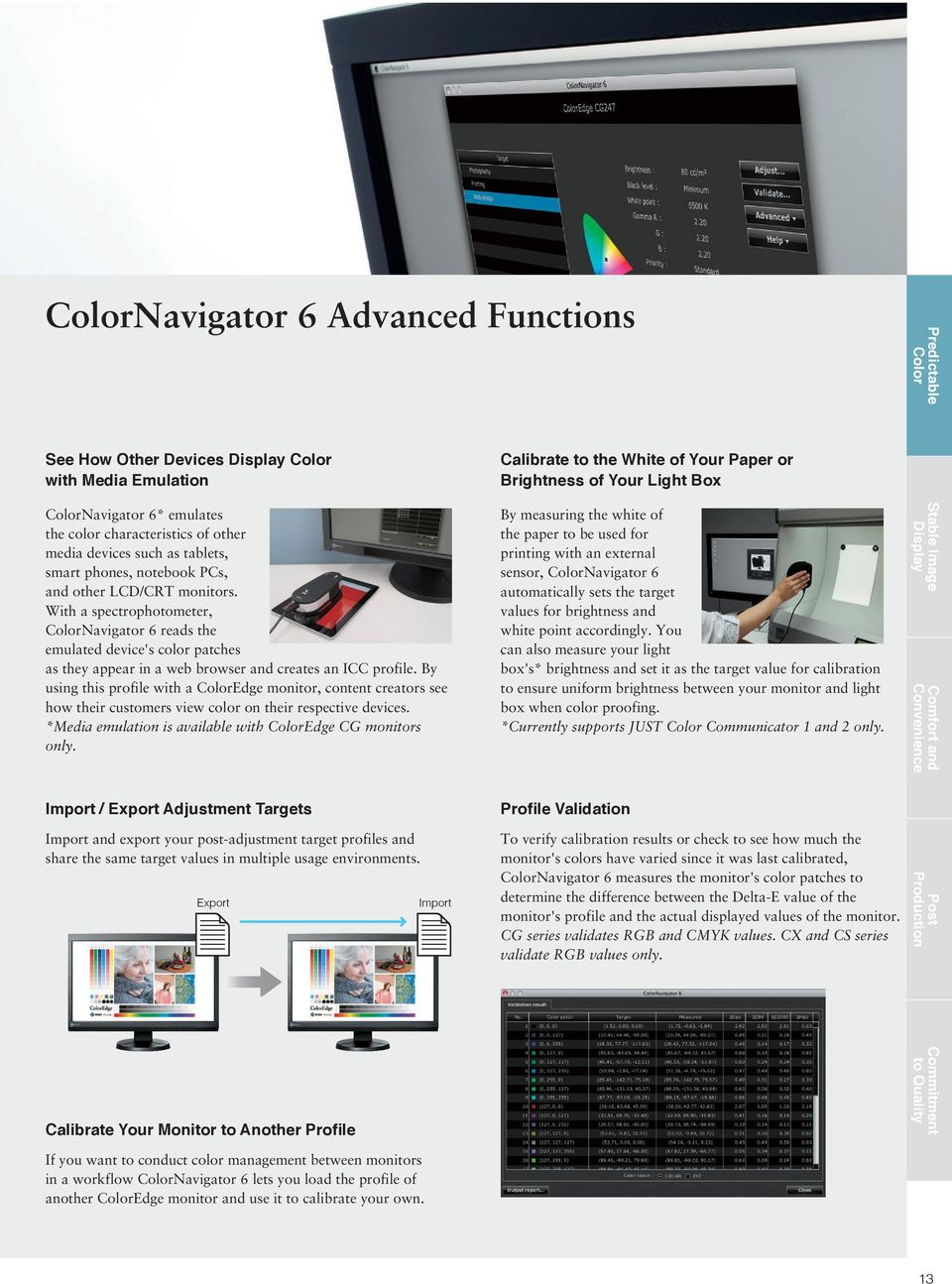 With a spectrophotometer, ColorNavigator 6 reads the emulated device's color patches as they appear in a web browser and creates an ICC profile.