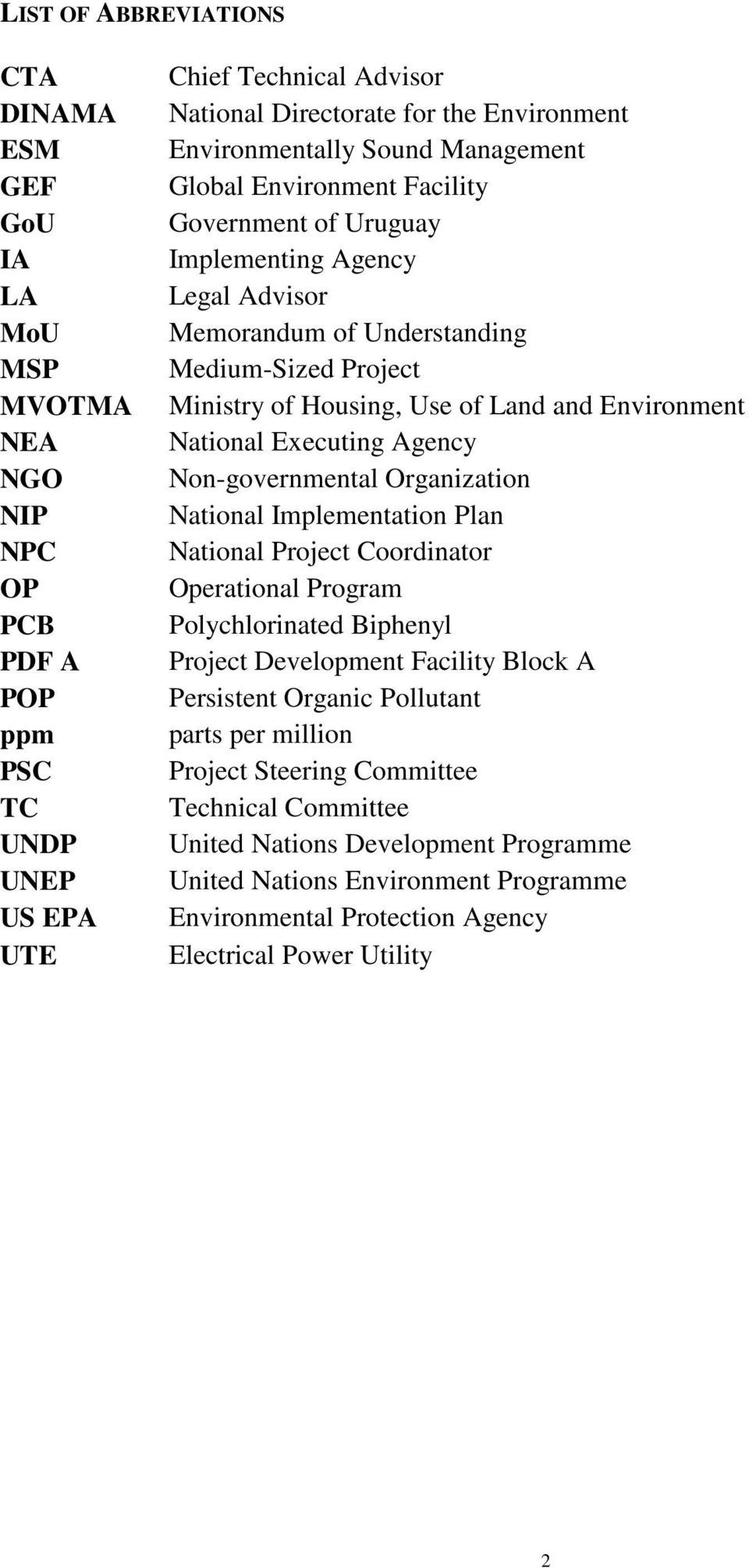and Environment National Executing Agency Non-governmental Organization National Implementation Plan National Project Coordinator Operational Program Polychlorinated Biphenyl Project Development