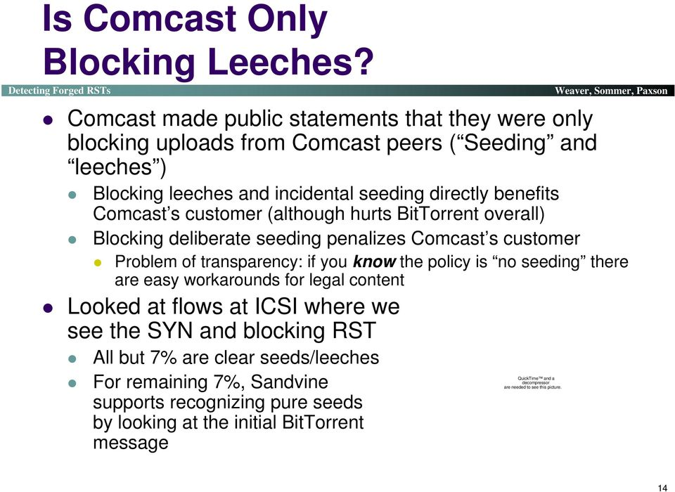 Comcast s customer (although hurts BitTorrent overall) Blocking deliberate seeding penalizes Comcast s customer Problem of transparency: if you know the policy is no