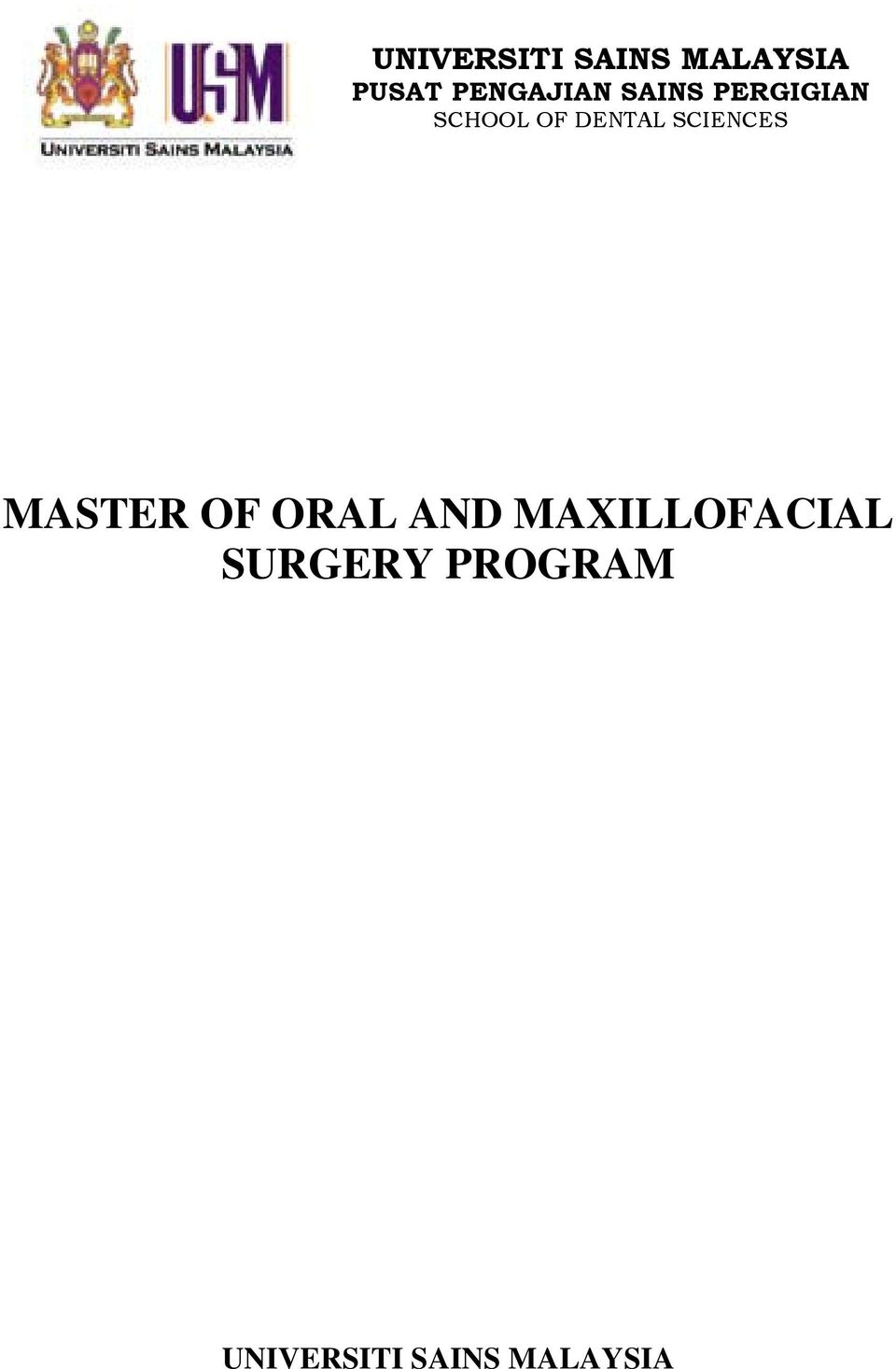 DENTAL SCIENCES MASTER OF ORAL AND