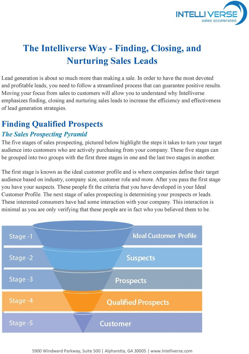 Moving your focus from sales to customers will allow you to understand why Intelliverse emphasizes finding, closing and nurturing sales leads to increase the efficiency and effectiveness of lead