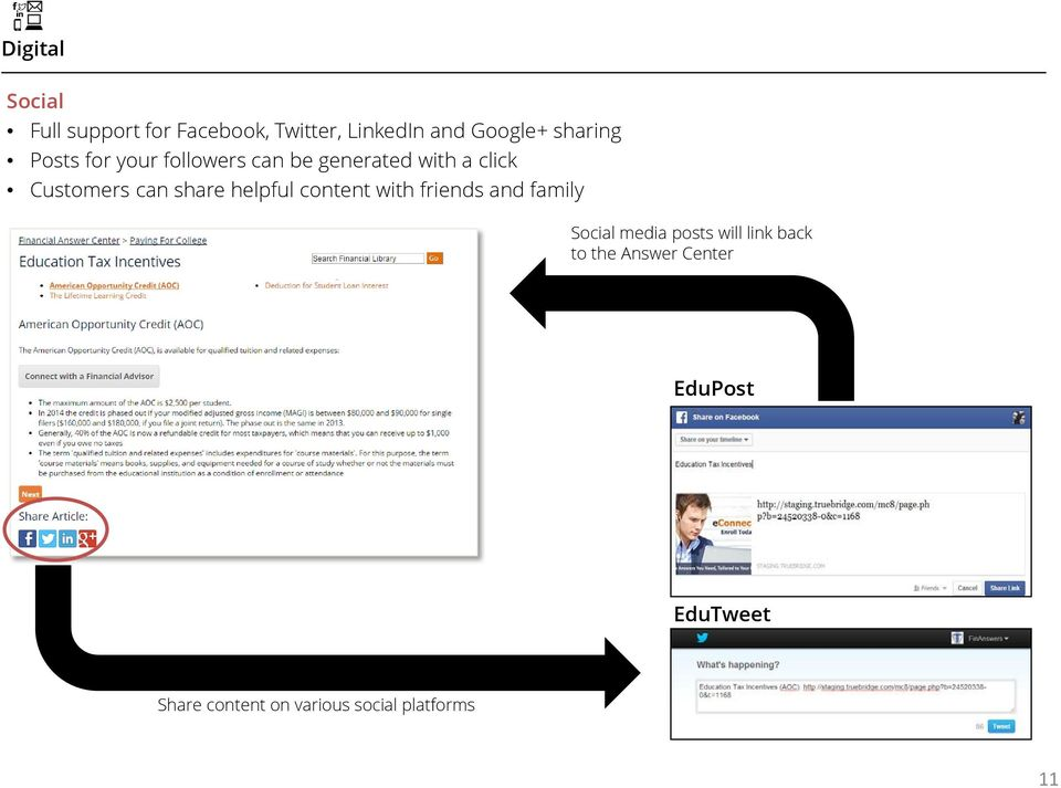 share helpful content with friends and family Social media posts will link