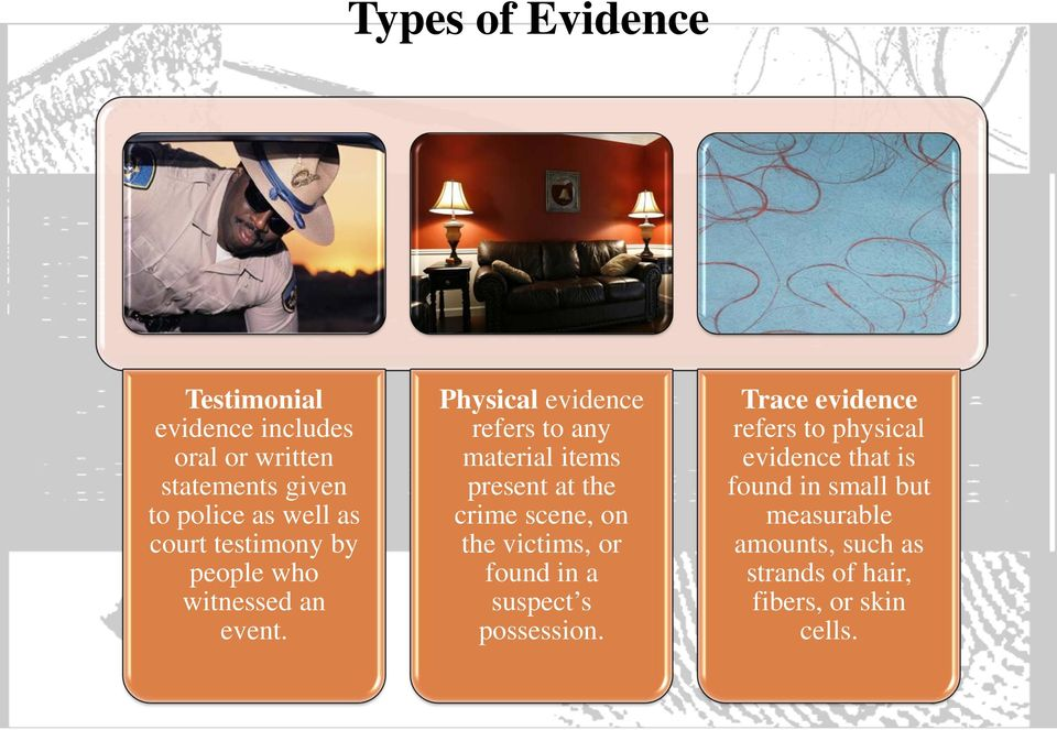Physical evidence refers to any material items present at the crime scene, on the victims, or found in