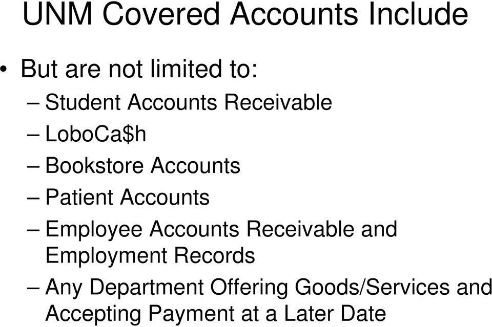 Accounts Employee Accounts Receivable and Employment Records