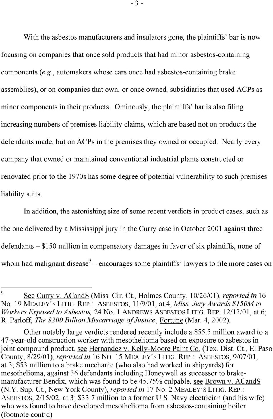 on companies that once sold products that had minor asbestos-containing