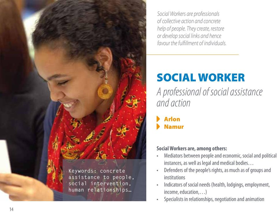 SOCIAL WORKER A professional of social assistance and action Arlon Namur 14 Keywords: concrete assistance to people, social intervention, human relationships Social
