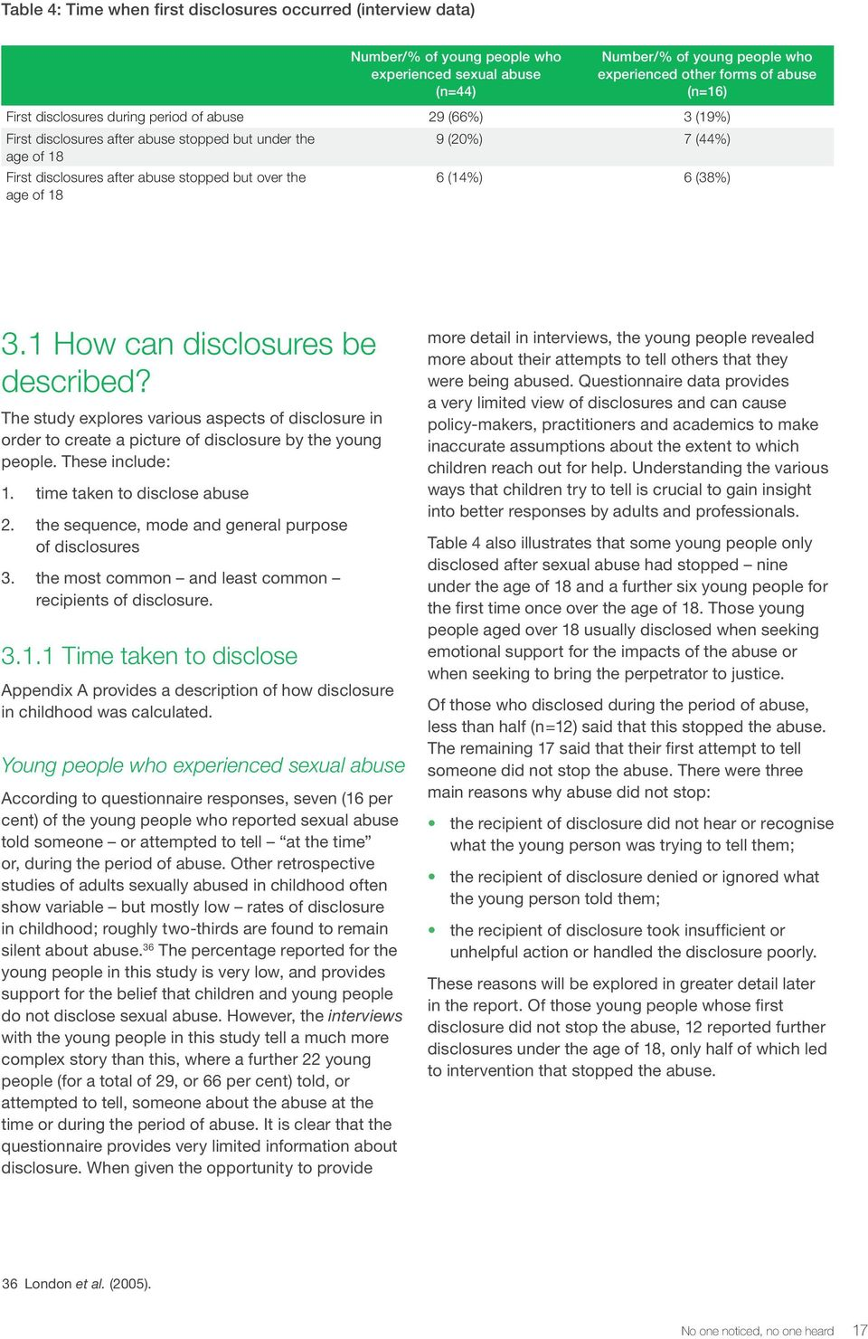 6 (38%) 3.1 How can disclosures be described? The study explores various aspects of disclosure in order to create a picture of disclosure by the young people. These include: 1.
