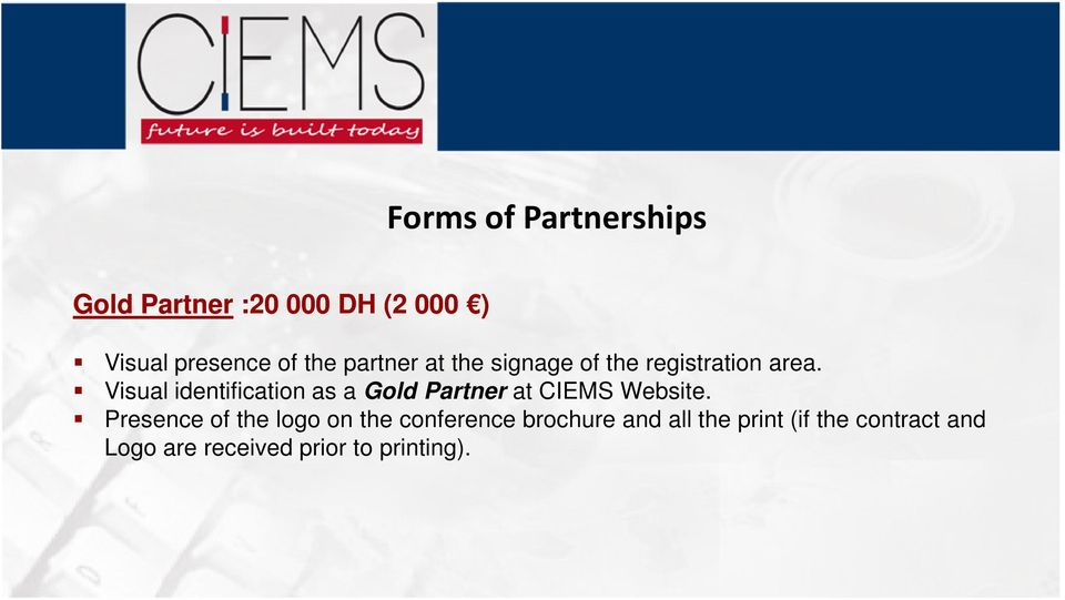 Visual identification as a Gold Partner at CIEMS Website.