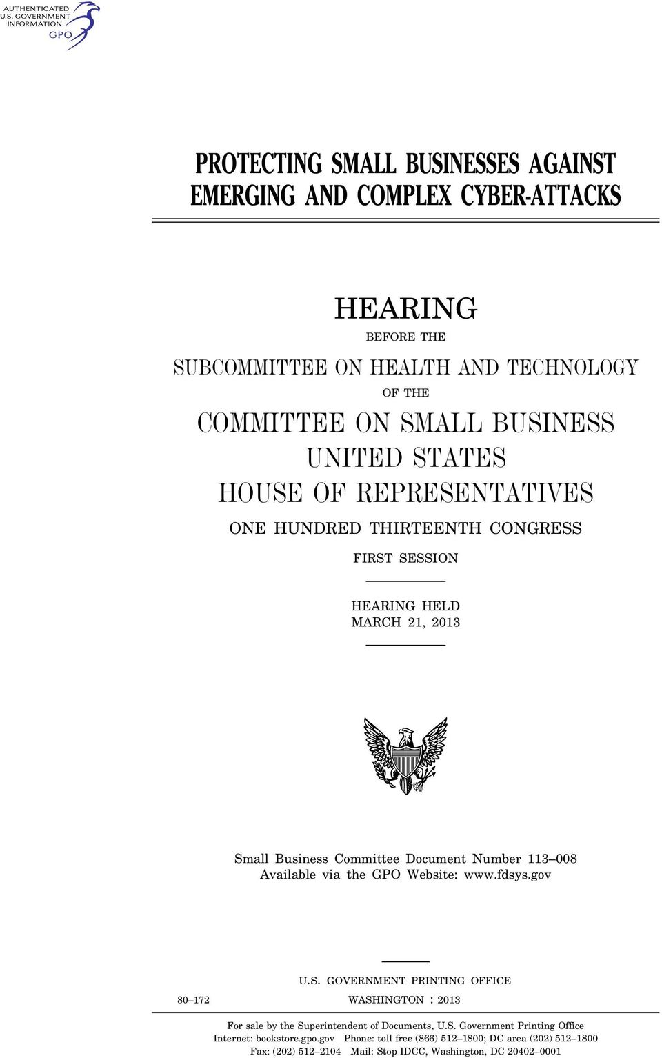 TXT DEBBIE Congress.#13 For sale by the Superintendent of Documents, U.S. Government Printing Office Internet: bookstore.gpo.