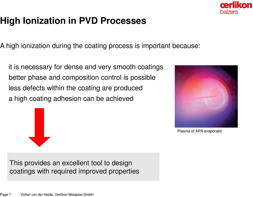 less defects within the coating are produced a high coating adhesion can be achieved Plasma of APA