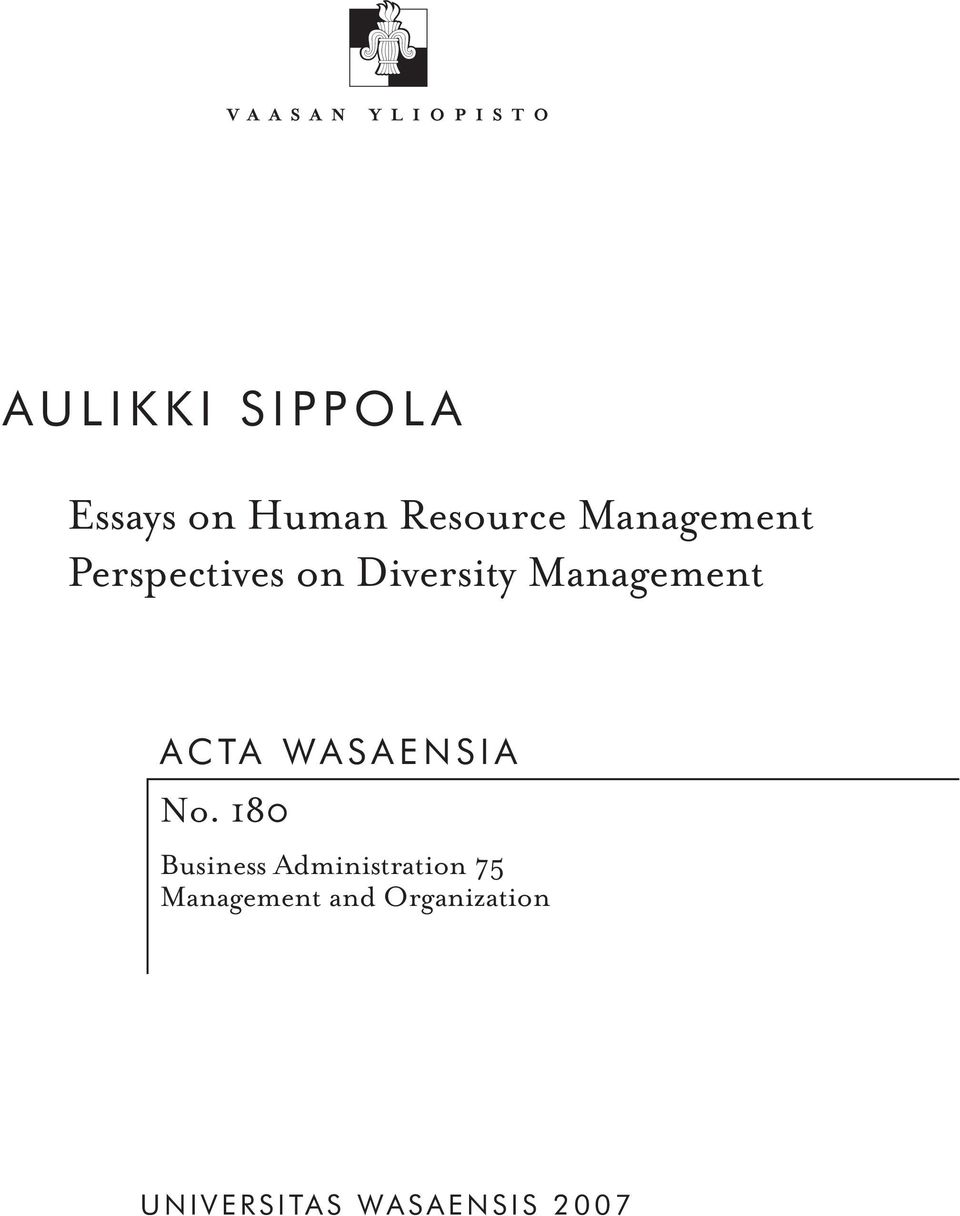 Aulikki Sippola Essays On Human Resource Management Perspectives On  Acta Wasaensia No