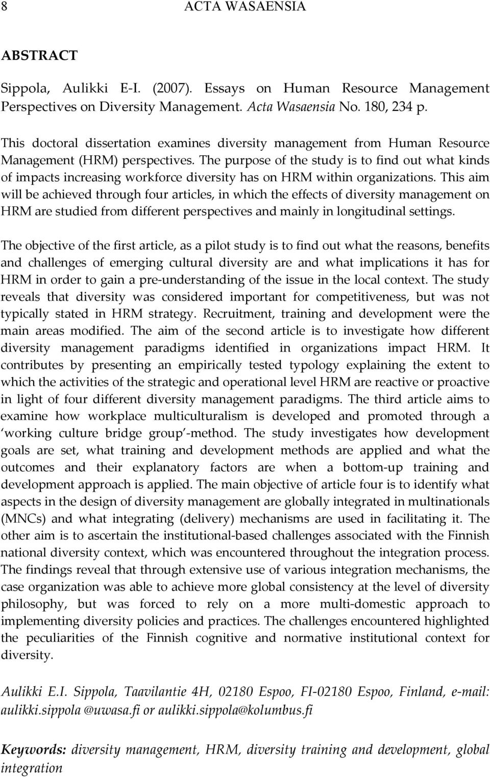 dissertation on diversity management