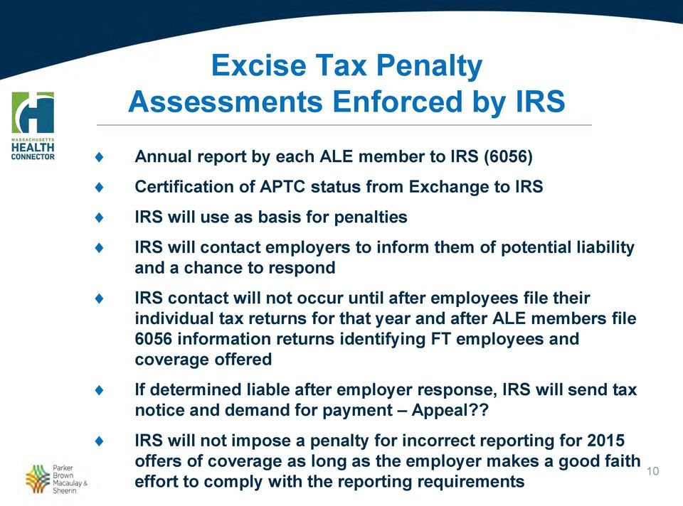 after ALE members file 6056 information returns identifying FT employees and coverage offered If determined liable after employer response, IRS will send tax notice and demand for