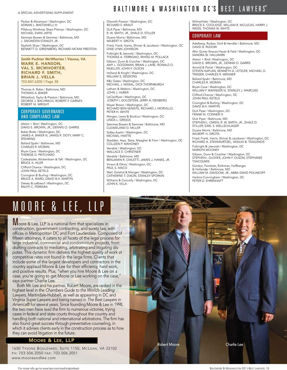 GREENBERG, RICHARD MCKIM PRESTON Smith Pachter McWhorter Vienna, VA MARK E. HANSON, VAL S. MCWHORTER, RICHARD F. SMITH, BRIAN J. VELLA 703.847.6300 Page 38 Thomas A. Baker Baltimore, MD THOMAS A.