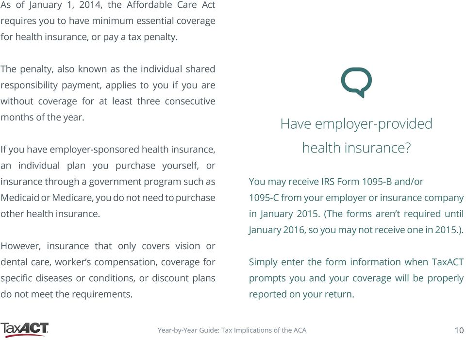 If you have employer-sponsored health insurance, an individual plan you purchase yourself, or insurance through a government program such as Medicaid or Medicare, you do not need to purchase other