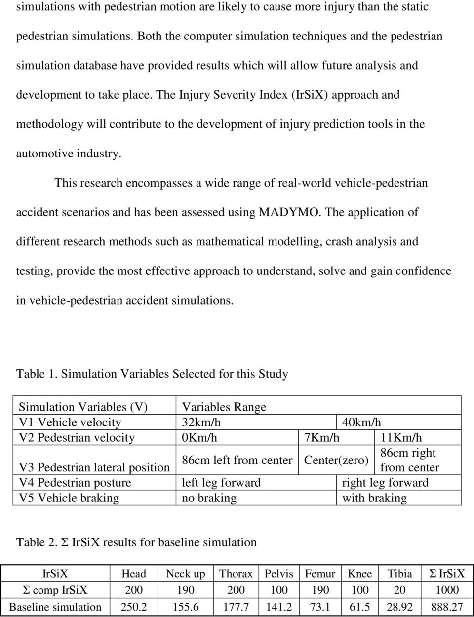 The Injury Severity Index (IrSiX) approach and methodology will contribute to the development of injury prediction tools in the automotive industry.