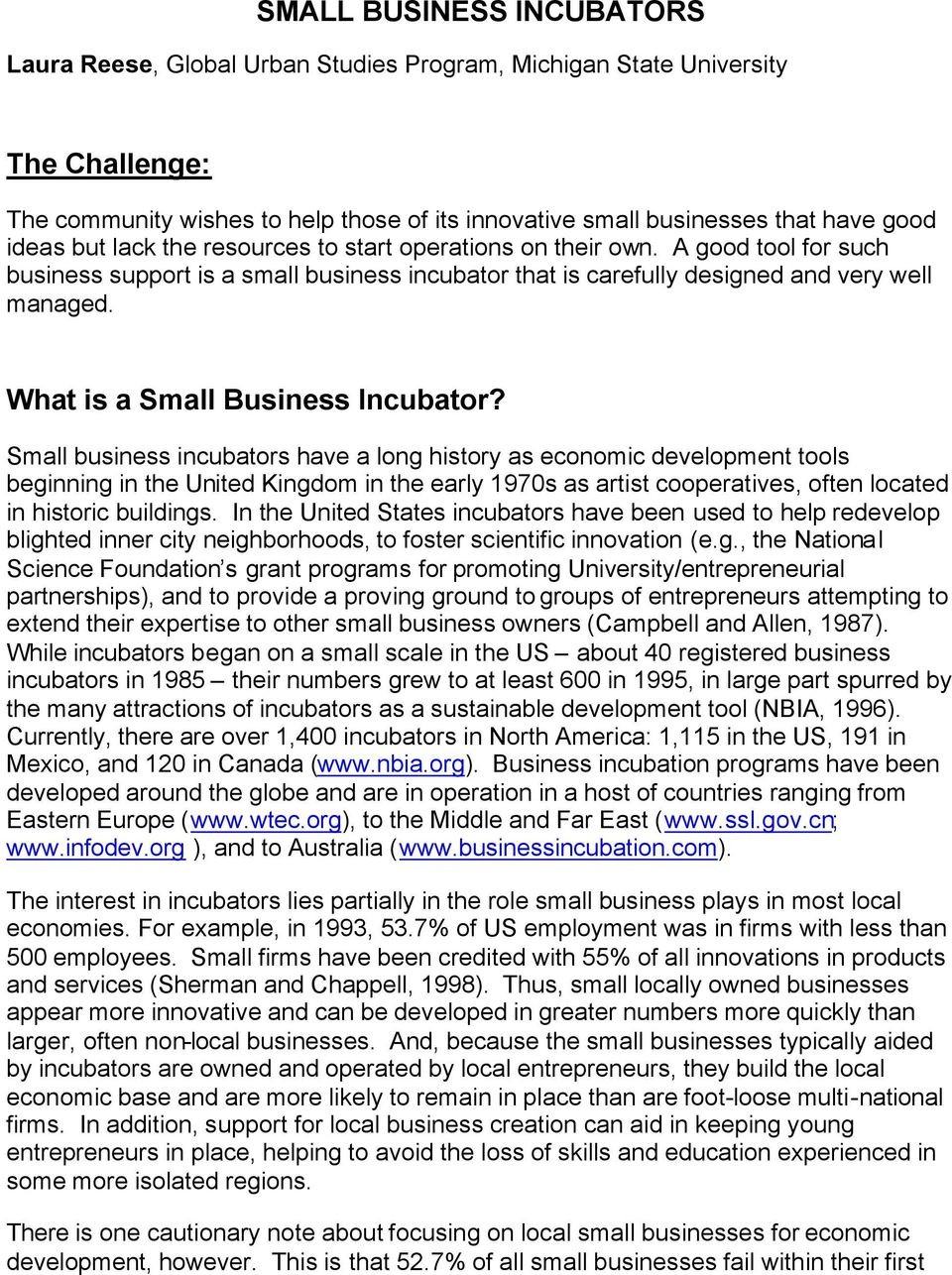 What is a Small Business Incubator?