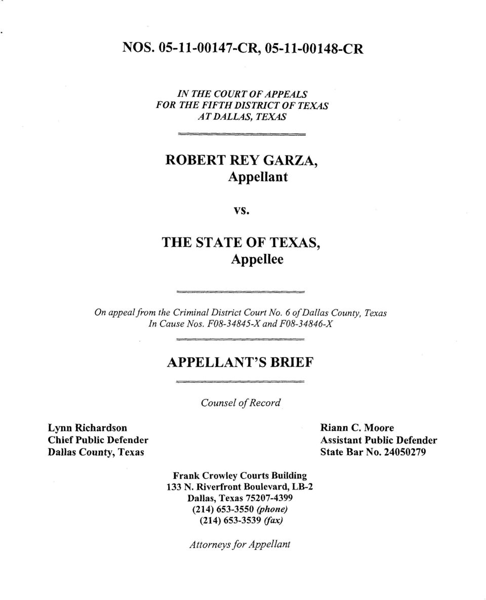 F08-34845-X and F08-34846-X APPELLANT'S BRIEF Counsel of Record Lynn Richardson Chief Public Defender Dallas County, Texas Assistant
