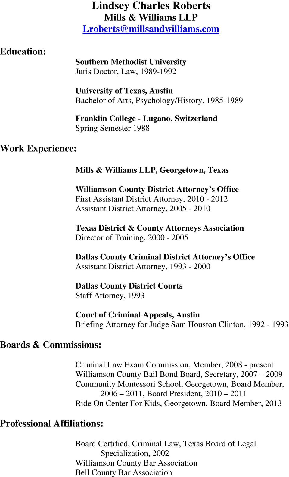 Psychology/History, 1985-1989 Franklin College - Lugano, Switzerland Spring Semester 1988 Mills & Williams LLP, Georgetown, Texas Williamson County District Attorney s Office First Assistant District