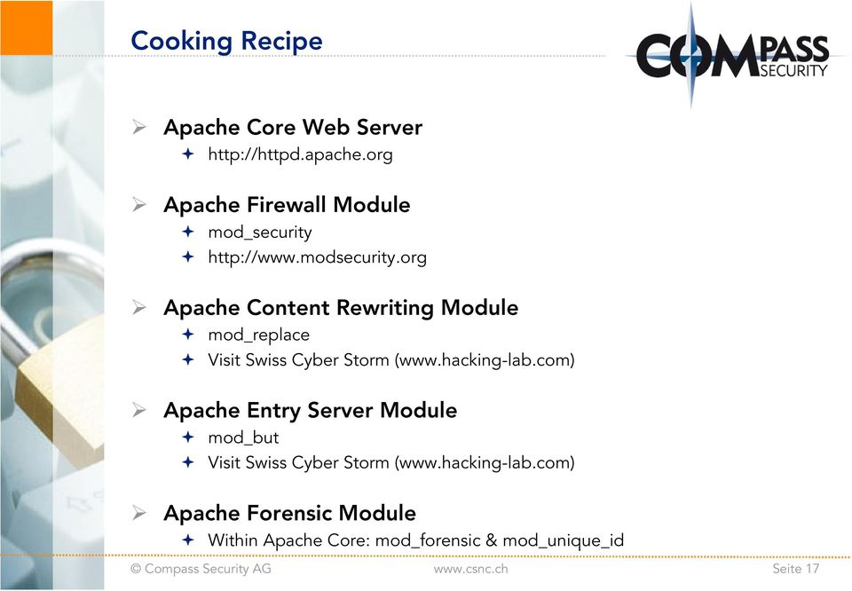 org Apache Content Rewriting Module mod_replace Visit Swiss Cyber Storm (www.hacking-lab.