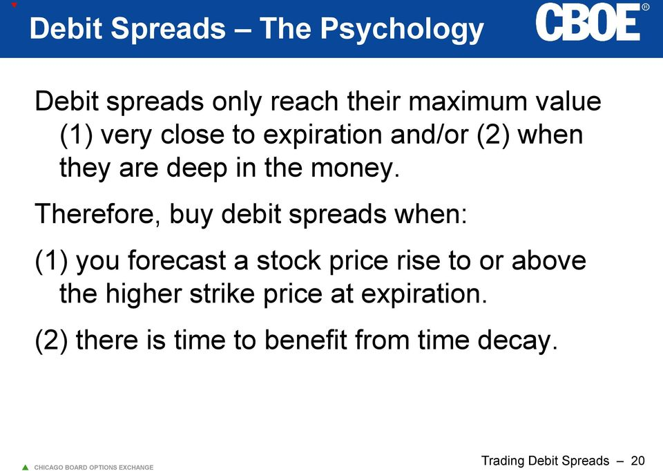 Therefore, buy debit spreads when: (1) you forecast a stock price rise to or above