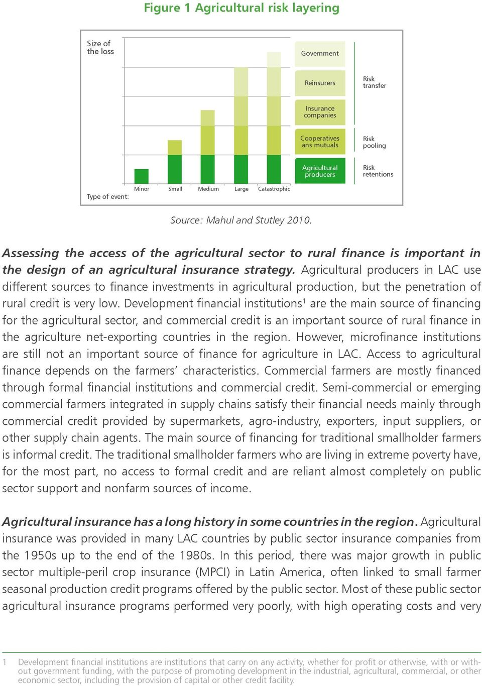 Assessing the access of the agricultural sector to rural finance is important in the design of an agricultural insurance strategy.