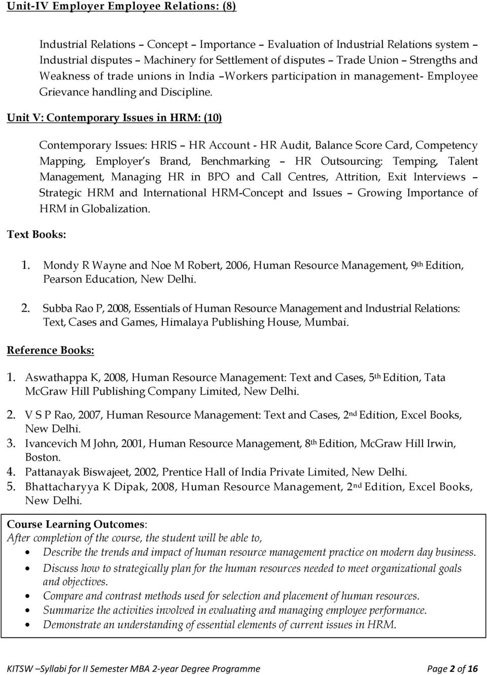 Unit V: Contemporary Issues in HRM: (10) Text Books: Contemporary Issues: HRIS HR Account - HR Audit, Balance Score Card, Competency Mapping, Employer s Brand, Benchmarking HR Outsourcing: Temping,
