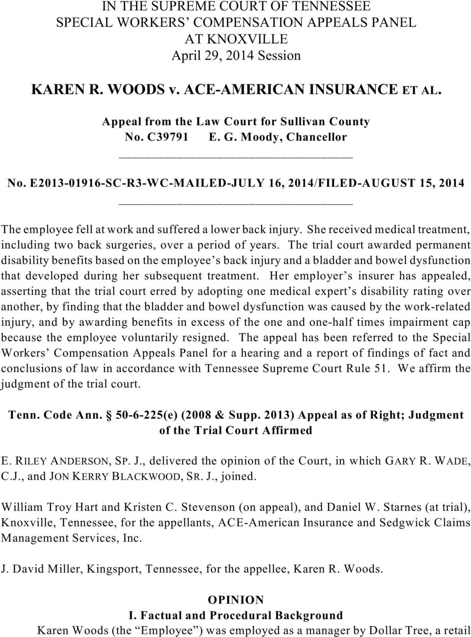 E2013-01916-SC-R3-WC-MAILED-JULY 16, 2014/FILED-AUGUST 15, 2014 The employee fell at work and suffered a lower back injury.