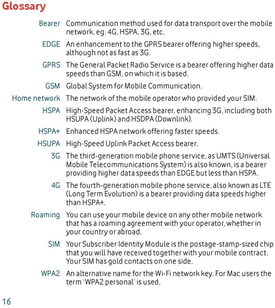 GSM Global System for Mobile Communication. Home network The network of the mobile operator who provided your SIM.