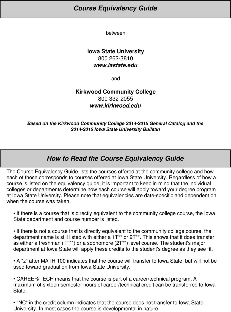 courses offered at the community college and how each of those corresponds to courses offered at Iowa State University.
