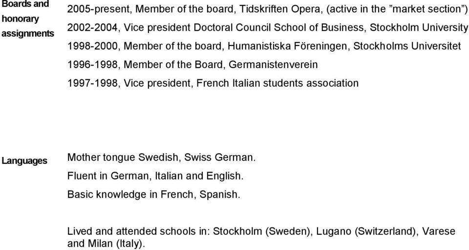 Board, Germanistenverein 1997-1998, Vice president, French Italian students association Languages Mother tongue Swedish, Swiss German.