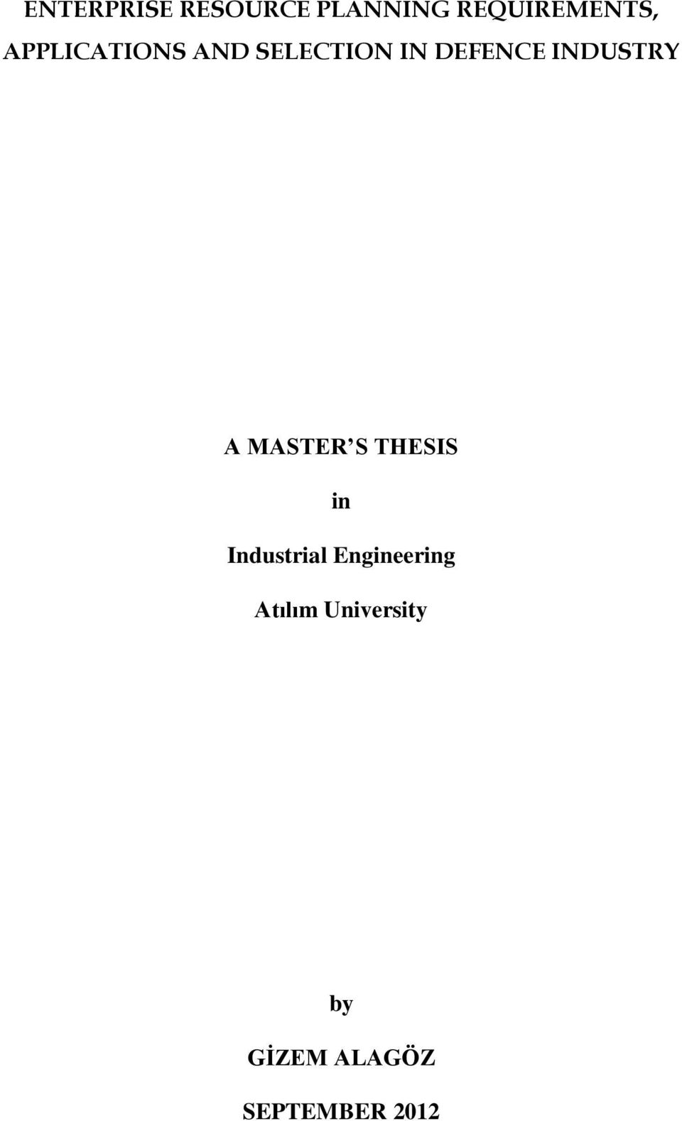 INDUSTRY A MASTER S THESIS in Industrial