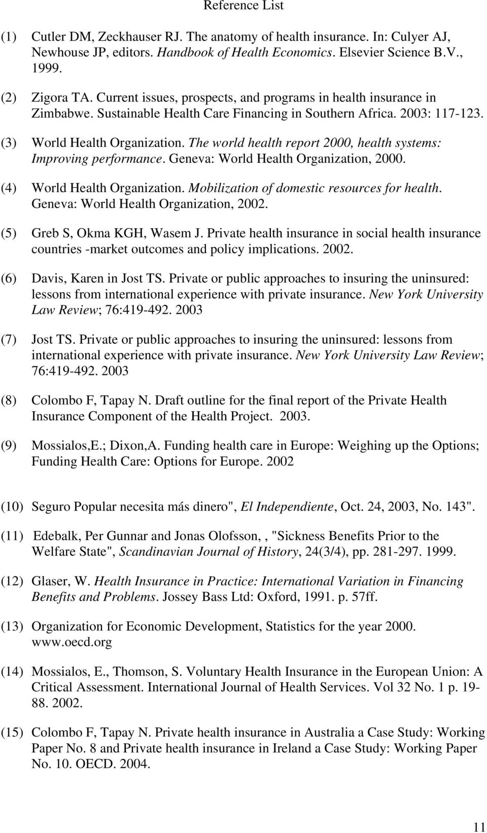 The world health report 2000, health systems: Improving performance. Geneva: World Health Organization, 2000. (4) World Health Organization. Mobilization of domestic resources for health.