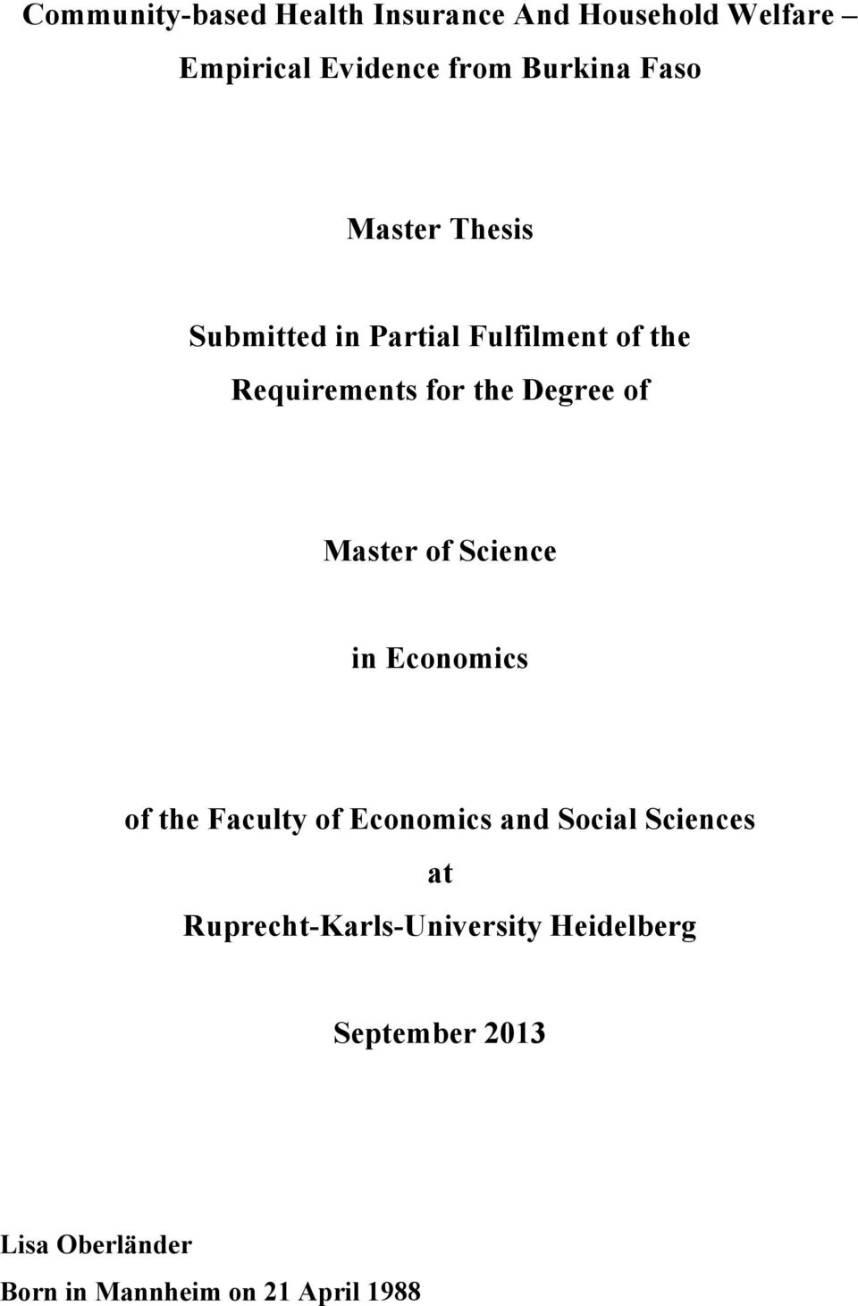 Master of Science in Economics of the Faculty of Economics and Social Sciences at