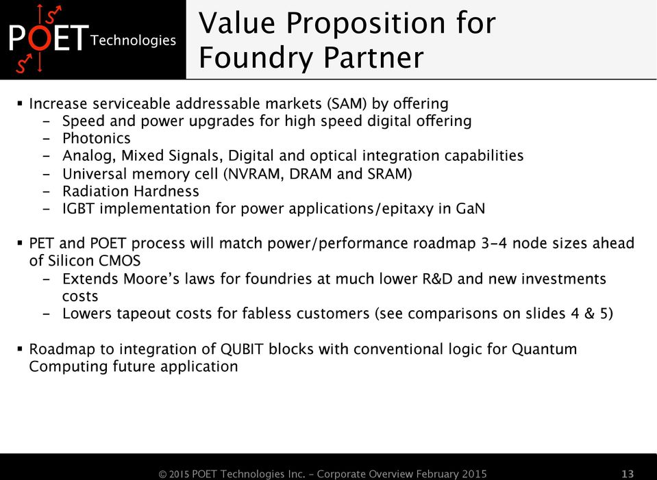 in GaN PET and POET process will match power/performance roadmap 3-4 node sizes ahead of Silicon CMOS - Extends Moore s laws for foundries at much lower R&D and new investments