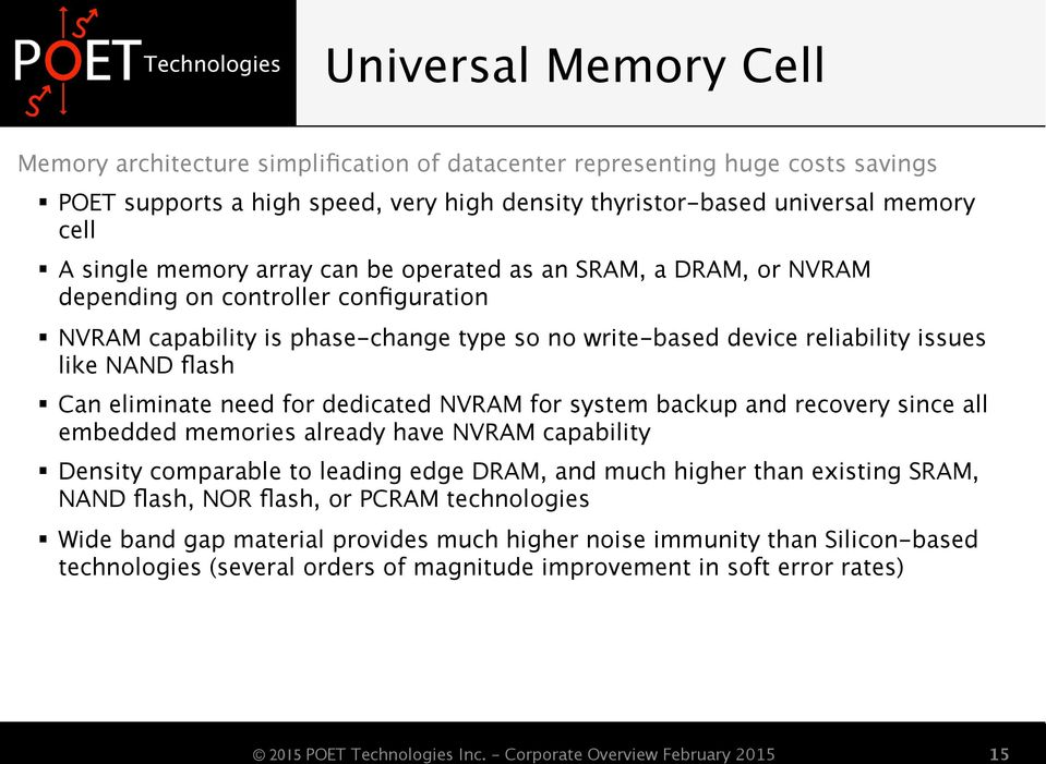 eliminate need for dedicated NVRAM for system backup and recovery since all embedded memories already have NVRAM capability Density comparable to leading edge DRAM, and much higher than existing