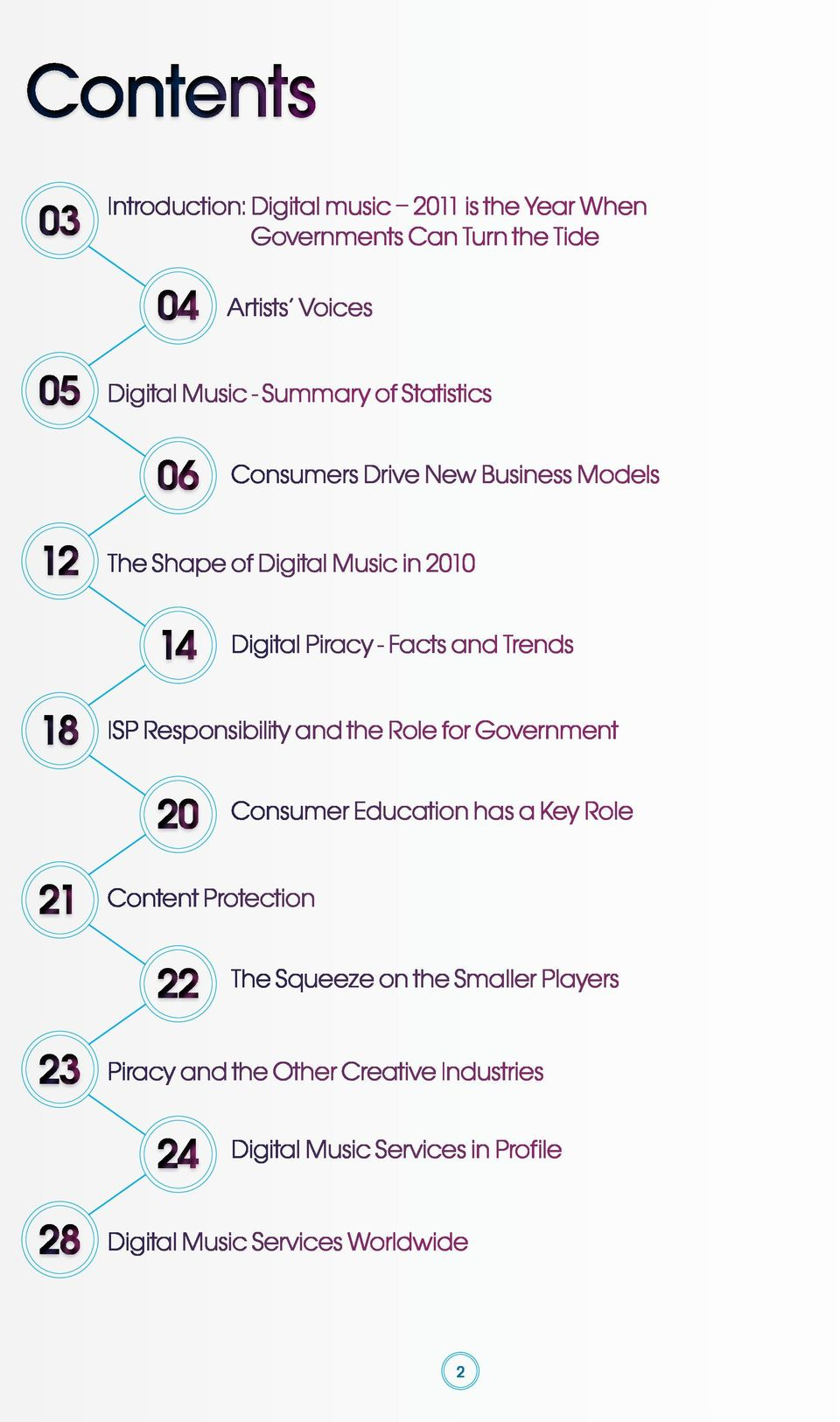 Trends 18 ISP Responsibility and the Role for Government 20 Consumer Education has a Key Role 21 Content Protection 22 The Squeeze