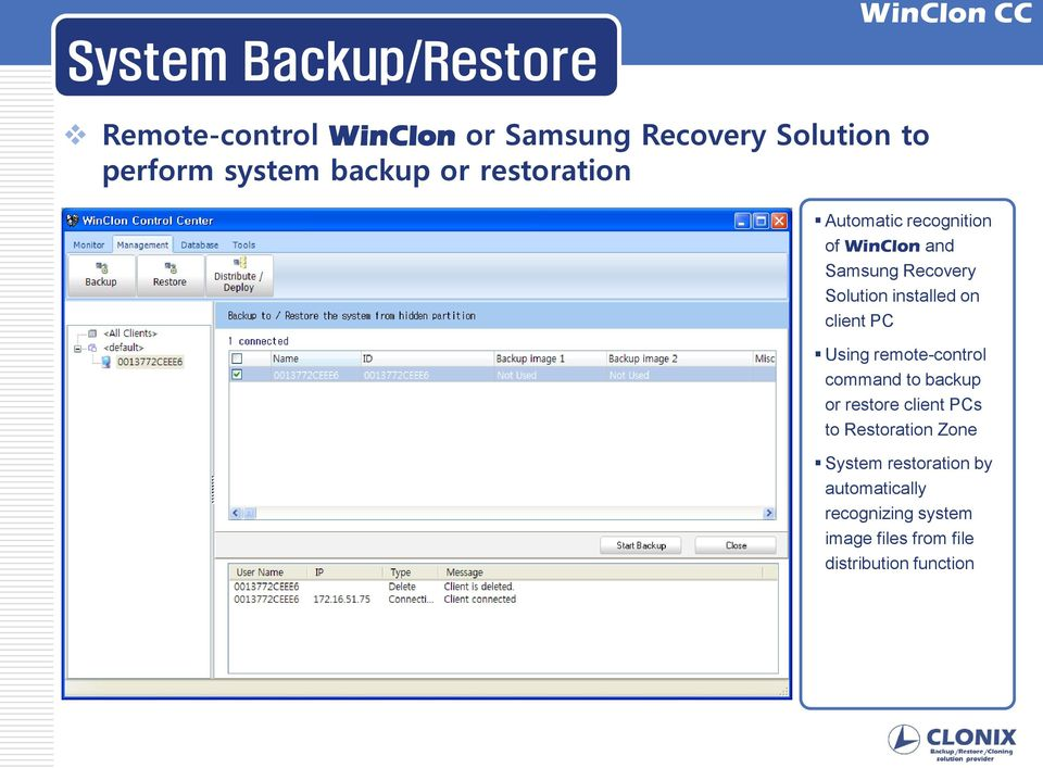 on client PC Using remote-control command to backup or restore client PCs to Restoration Zone