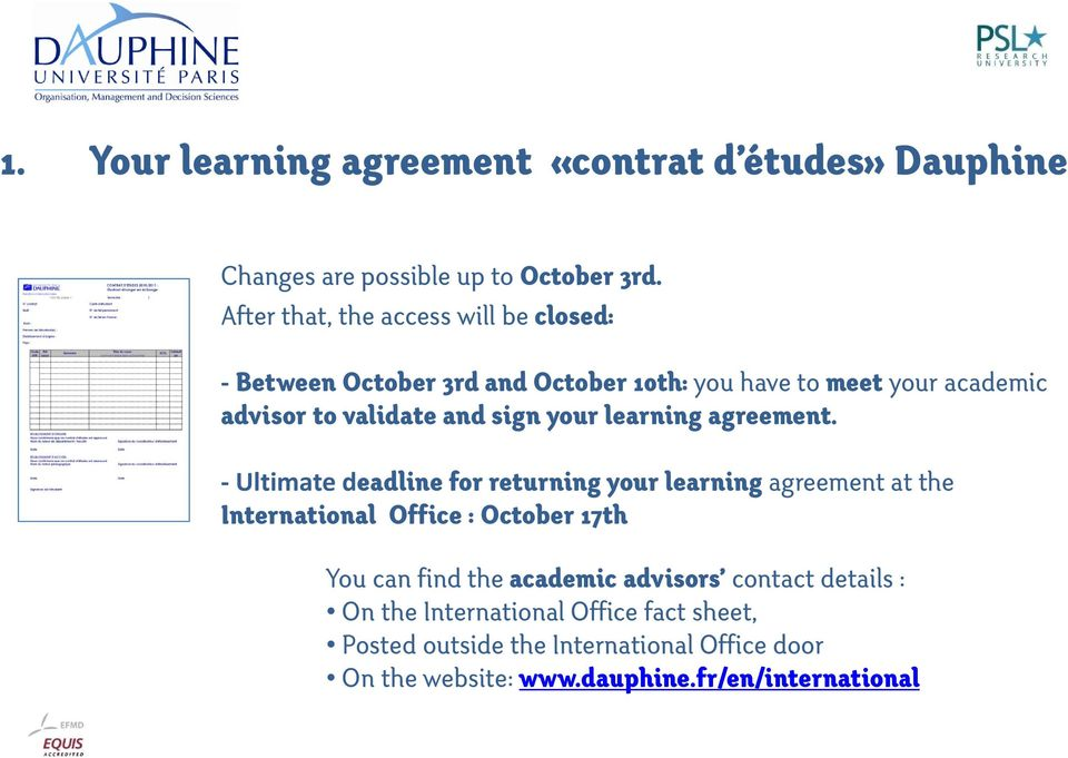 sign your learning agreement.