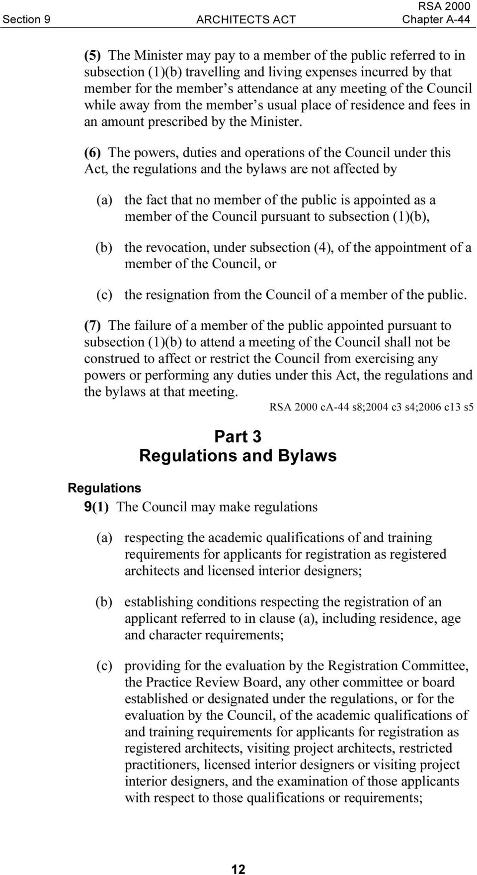 (6) The powers, duties and operations of the Council under this Act, the regulations and the bylaws are not affected by (a) the fact that no member of the public is appointed as a member of the